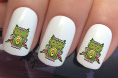 nail decals #322 colorful night owls birds water transfers stickers manicure art set x24