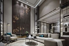 Bishan Green Island Villa by Kevin Hu « HomeAdore Luxury Homes Interior, Best Interior Design, Home Design, Design Ideas, Living Room Green, Living Room Decor, Chongqing, Luxury Living, Living Room Ideas