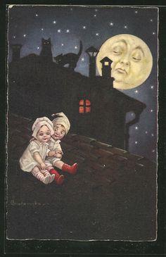 old postcard: Künstler-AK E.Colombo: der Mond sieht zwei Kinder auf einem Dach