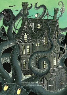 Nicola L Robinson Giant Squid Attack illustration gothic childrens book