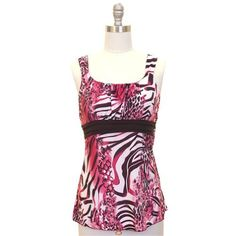 Pink & Black Animal Print Sleeveless Empire Waist Top Jon & Anna. $19.99