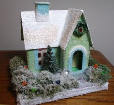Build your own glitter house, PDF pattern and instructions including. Putz Christmas house village