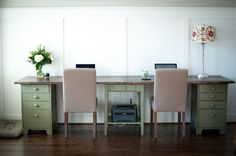 DIY Double Desk | Whimseybox love using old furniture for this project.