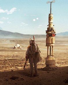 "Star Wars: Episode IV ""A New Hope"": Boba Fett at the Lars' moisture farm. Boba Fett Mandalorian, Star Wars Boba Fett, Star Wars Fan Art, Starwars, Star Wars Models, Star Wars Pictures, Game Concept Art, Star Wars Gifts, Star Wars Poster"