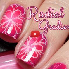 Pink Nail Art - Radial Gradient - youtube tutorial video image link