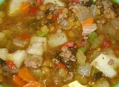 Hamburger Soup - This was a very good basic soup.  I didn't have much in the refrigerator, so I found the recipe and used it all up.  It was very good.  I would make it again.