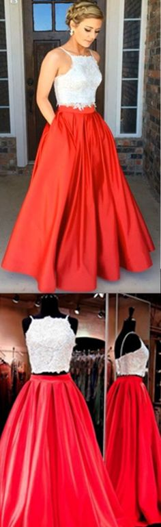 White And Red Prom Dresses Modern Two Piece Prom Dresses Square Neck Floor-Length Ruched Red Prom Dress with Beading Pockets #eveningdresses