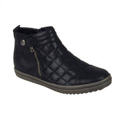 Womens flat ankle boots in black color. Soft removable insole and rubber non-slip sole. In large sizes from Remonte. Women's Flat Ankle Boots, Womens Flats, Wedges, Stylish, Sneakers, Black, Fashion, Tennis, Moda