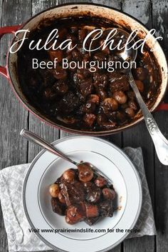 """it with a thick French accent """"Boeuf Bourguignon"""". This was such a delicious dish and was so comforting on a cold day! I had fun cooking from Julia Child's """"Mastering the Art of French Cooking"""". French Cooking Recipes, Dutch Oven Recipes, Fun Cooking, Meat Recipes, Art Of Cooking, Cooking Quotes, Dutch Oven Cooking, Lamb Recipes, Gastronomia"""