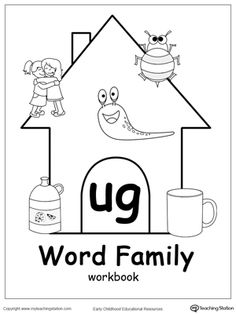 UG Word Family Workbook for Kindergarten: Help your kindergartener practice a variety of skills including reading, writing, drawing, coloring, thinking skills and more with this UG Word Family Workbook. The workbook includes various printable worksheets for children in kindergarten.