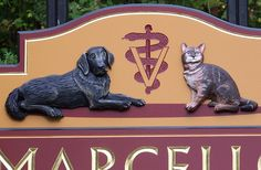 This sign includes hand sculpted artwork and hand carved lettering, both painted and gilded with gold leaf. Animal Signs, Hospital Signs, Office Signs, Business Signs, Hand Carved, Lion Sculpture, Medical, Statue, Detail