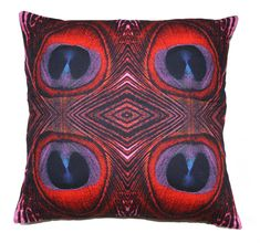 Burlesque Red Peacock Feather Print Cushion by ZEDHEAD on Etsy