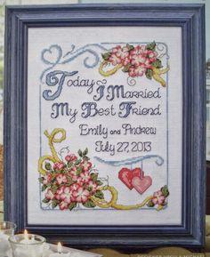 BEST FRIEND WEDDING SAMPLER Cross Stitch Pattern, TODAY I MARRIED MY BEST FRIEND