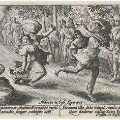 Atalanta en Hippomenes, Crispijn van de Passe (I), after Maerten de Vos, 1602 - 1607 - Rijksmuseum