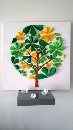 guest book - tree tree prints on a cotton 50 x 50 cm. Pop Up Art, Diy Paper, Paper Art, Paper Crafts, Quilling Flowers Tutorial, Diy For Kids, Crafts For Kids, Diy And Crafts, Arts And Crafts