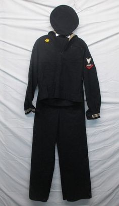 Vintage WWII Military US Navy Sailor Uniform Cracker Jack Wool 3 Piece Outfit