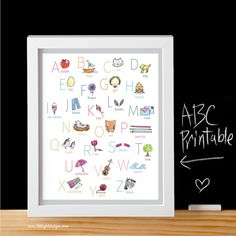 Darling Gray ABC Printable by My Little Girl Designs ~ perfect for a baby shower gift and the nursery! (also available in turquoise and pink)