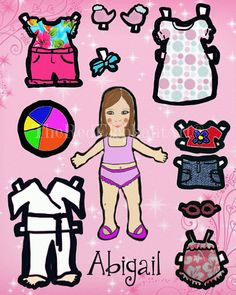 Abigail- Paper doll, DIGITAL DOWNLOAD, girl, girl's toys, clip art, pink, paper doll clothes, scrape booking, paper doll, cousins, sisters,