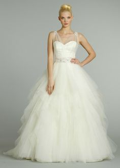 sweetheart neckline with sheer straps + tulle skirt (just add a bit more lace and sparkles and it's perfect for me!)