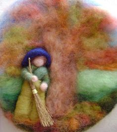 Wool needle felted  circle picture  -   A delight for the Autumn Nature Table -  Sweeping the Autumn leaves. via Etsy.