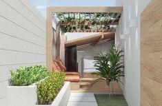 Futons são ótimas opções para decorar a área Futons, Backyard, Patio, Atrium, Entryway, Stairs, Outdoor Structures, Inspiration, Hall Entrada