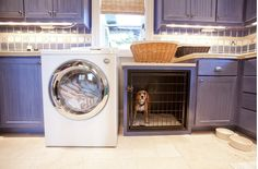 Built in dog crate | dog crate built-in laundry room