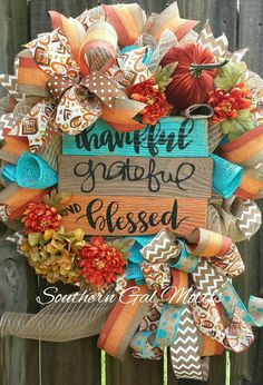 Blessed wreathFall wreathThanksgiving by SouthernGalMotifs on Etsy