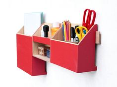 Wood Wall Hanging Red Organizer/ Wall Office Paper organizer/ Modern pen holder/ Office Mail Storage set/ Hanging wooden home organizer/ office decor/ Paper holder/ Modern hanging box/ Wood wall organizer/ Desk organizer/ Wall organization  This Hanging Red wooden organizer is create to provide you with a functional solution for your all small objects, papers and mail. You have always your desk organizer clean of pens, drawing tools and your p...