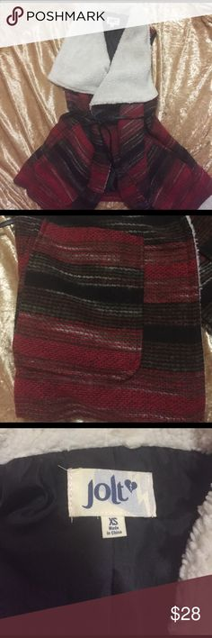 Wool tribal vest vintage style Beautiful pattern with fuzzy details. Wraps with faux leather belt. Says size xs but could fit a small. Not free people listed for visibility. Coachella festival gear! Free People Jackets & Coats Vests