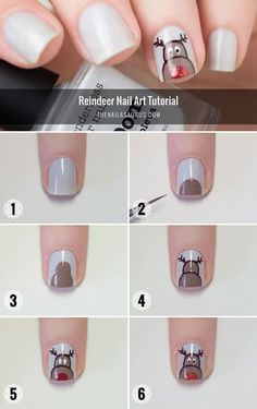 Rudolph The Red Nosed Reindeer Nail Art Tutorial Loading. Rudolph The Red Nosed Reindeer Nail Art Tutorial Diy Christmas Nail Art, Xmas Nail Art, Xmas Nails, Christmas Nail Art Designs, Holiday Nails, Christmas Holidays, Simple Christmas, Reindeer Christmas, Green Christmas