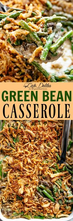 Green Bean Casserole made with quick homemade mushroom soup soup and fresh green beans.no canned items here! Veggie Side Dishes, Vegetable Dishes, Side Dish Recipes, Vegetable Recipes, Vegetarian Recipes, Cooking Recipes, Healthy Recipes, Dairy Recipes, Healthy Meals