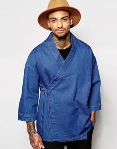 Asos Denim Wrap Front Kimono in Blue for Men Lyst Asos Kimono, Mode Kimono, Kimono Jacket, Kimono Fashion, Denim Fashion, Look Fashion, Mens Style Looks, Rare Clothing, Look 2017