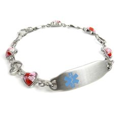 Pre-Engraved /& Customizable Multiple Sclerosis Toggle Medical Bracelet Red My Identity Doctor Steel Hearts