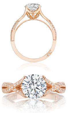 Capri Jewelers Arizona ~ www.caprijewelersaz.com Rose gold and diamond engagement ring (#2565MDRD75PK) from Tacori's new Pretty in Pink collection.