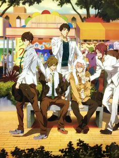 The free gang third years Hot Anime Boy, Cute Anime Guys, I Love Anime, Fanarts Anime, Anime Manga, Nagisa Free, Free Kisumi, Rin Matsuoka, Deku Anime
