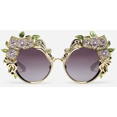 Dolce & Gabbana Metal Sunglasses With Hydrangea Embellishment ($1,630) ❤ liked on Polyvore featuring accessories, eyewear, sunglasses, dolce gabbana glasses, print sunglasses, dolce gabbana eyewear, embellished sunglasses and metal glasses