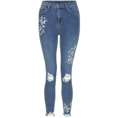 Blue Floral Embroidered Skinny Jenna Jeans ($47) ❤ liked on Polyvore featuring jeans, skinny jeans, skinny leg jeans, floral embroidered jeans, super skinny jeans and blue jeans