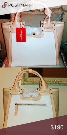 NWT CHARLES JORDAN SATCHEL. Stunning New leather bag, it s off white and  eggshells color, the high is 11inches , depth is 5.5, the length is13  inches. 0c14c7a92f