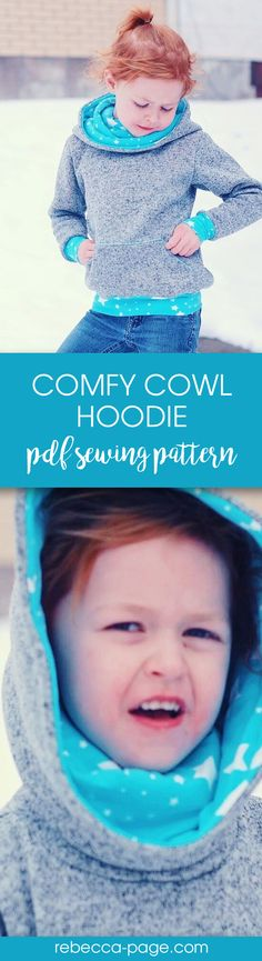 PDF sewing pattern - Super comfy and oh so cosy, this childs unisex hoodie pattern has an optional front pocket and is perfect for both boys and girls. Includes sizes newborn to 12 years.