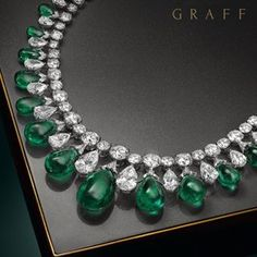 This extraordinary cabochon drop necklace incorporates 199 carats of magnificent emeralds, perfectly colour matched to create an incredible three dimensional design. Over 100 carats of the finest diamonds complement the vibrancy of the gems and create a scintillatingly stunning effect. Read more at http://websta.me/n/graffdiamonds#99rFt11sLfQhur0q.99
