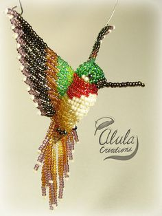 3D Beaded Bird #019: Rufous Hummingbird (large) - Suncatcher / Window Decor / Ornament / Necklace