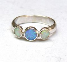 Mother day ring -White and Blue opal Gemstone silver ring  - Engagement Ring -size 8.5 via Etsy