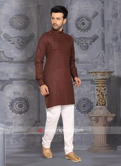 men outfits - Cotton Silk Fabric Kurta Pajama In Brown Color Nigerian Men Fashion, Indian Men Fashion, Mens Fashion Wear, India Fashion Men, Men's Fashion, African Dresses Men, African Clothing For Men, Mens Clothing Styles, Gents Kurta Design