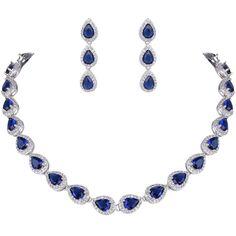EVER FAITH? Women's CZ Elegant Teardrop Necklace Earrings Set Silver-Tone -- Visit the valentines gift ideas more details.