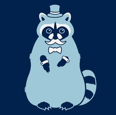 A fancy pants Raccoon wearing a top hat and dressed to the nines, then slathered on a t-shirt.