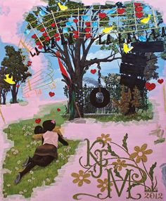 """Kerry James Marshall. Vignette (La La La)  2008-2012  Acrylic and mixed media on panel  72"""" x 60"""" click through for Art LTD article about the artist."""