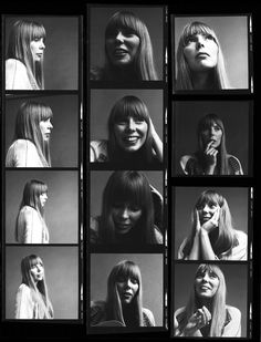 Contact sheet of portraits of the singer Joni Mitchell, (Photo by Jack Robinson/Hulton Archive/Getty Images)Image provided by Getty Images. Vogue Photoshoot, Contact Sheet, Photographie Portrait Inspiration, Folk Festival, Bohemian Hairstyles, Thing 1, The New Yorker, Singer, Instagram