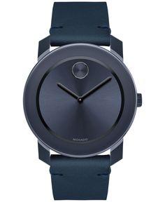 Movado Men's Swiss Bold Blue Leather Strap Watch 42mm 3600370