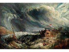 William Joseph Mallord Turner,   1775 – 1851, Nachfolge  STÜRMISCHE SEE Öl auf Holz. 20 x 30,5 cm. Trägt rechts unten Reste einer apokryphen Bezeichnung. Das kleine Gemälde zeigt eine stürmisch aufgepeitschte...