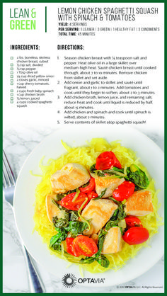 Lemon Chicken Spaghetti Squash with Spinach and Tomatoes